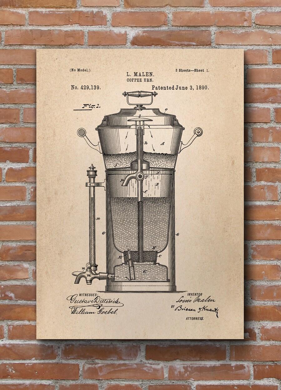 Kaffee Urne Patent Druck Kaffee Poster Küche Dekor Kaffee | Etsy