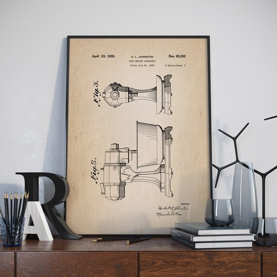 Kitchen Art Mixer: Kitchen Mixer Patent Poster Art Kitchen Mixer Design
