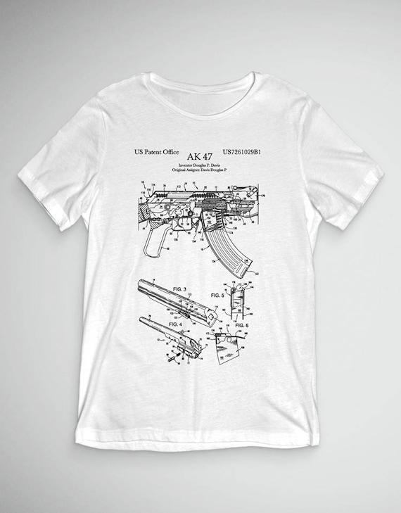 Ak 47 Patent T Shirt Gun Print Shirt Gun Art Ak 47