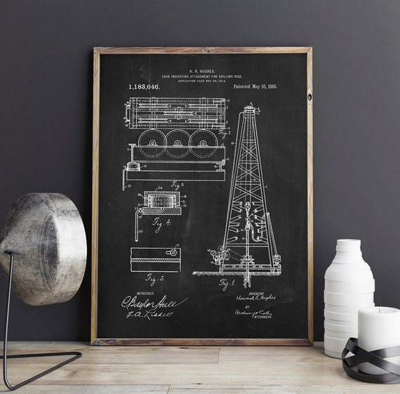 Genial Oil Drilling Rig Patent Train Patent Drilling Machine Texas | Etsy