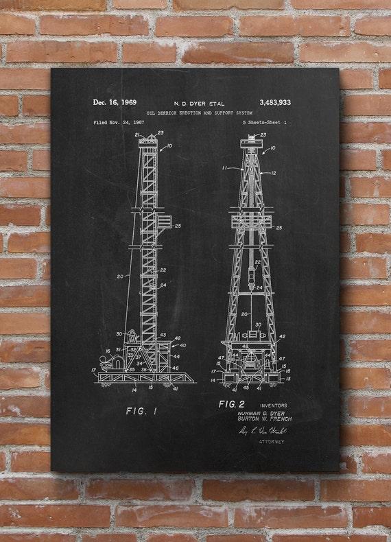 Superbe Oil Drilling Patent Texas Oil Rig Office Decor Oil U0026 Gas | Etsy