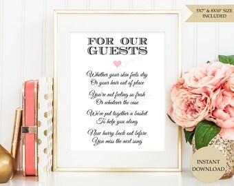 9c82cf81753fa9 Wedding Bathroom basket sign (INSTANT DOWNLOAD) - Wedding Bathroom sign -  Printable wedding signs - Wedding printables