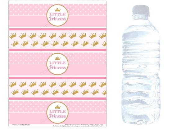 Princess Water Bottle Labels Instant Download Princess Etsy