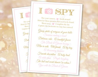 I spy wedding 5x7 Pink Gold (INSTANT DOWNLOAD) - I spy wedding game - I spy game - Wedding activities - Pink and gold wedding BR002