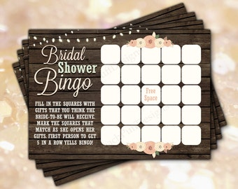 Rustic Bridal Shower games (INSTANT DOWNLOAD) - Bridal shower bingo - Rustic Bridal shower -Bridal bingo printable -Bridal bingo cards WB001