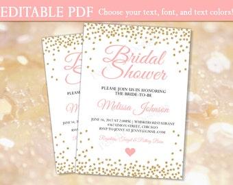 Bridal shower invitation (INSTANT DOWNLOAD) - Bridal shower invites - Bridal shower invitation template - Pink and gold Bridal shower BR001