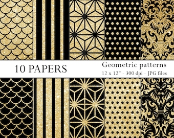 Black and gold digital paper (INSTANT DOWNLOAD) - Digital paper pack - Geometric digital paper - Digital scrapbook paper (DP002-gold)