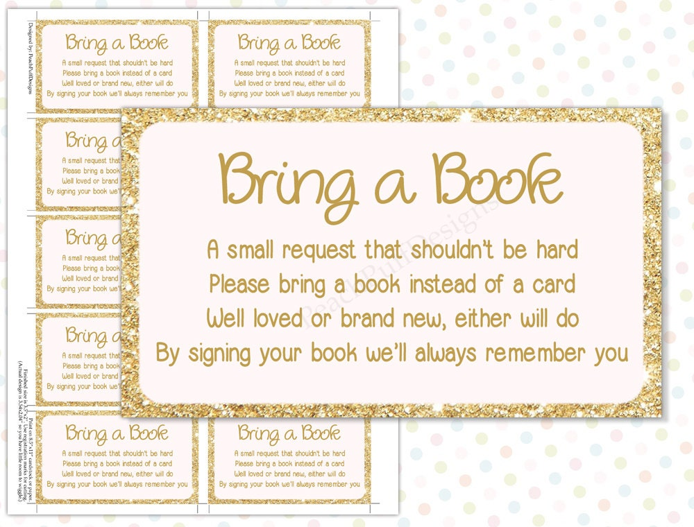Divine image with bring a book instead of a card free printable