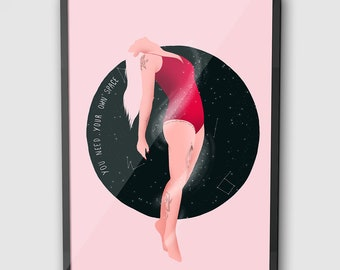 set of 2 Illustrated Wall Art  Postcard  A3 A4 A5 sizes  Mental health  Anxiety  Thoughtful  Spiritual Need Space Art Prints
