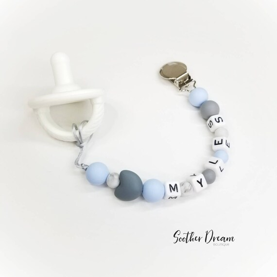 personalized blue pacifier soother dummy clip holder string chain metal plastic