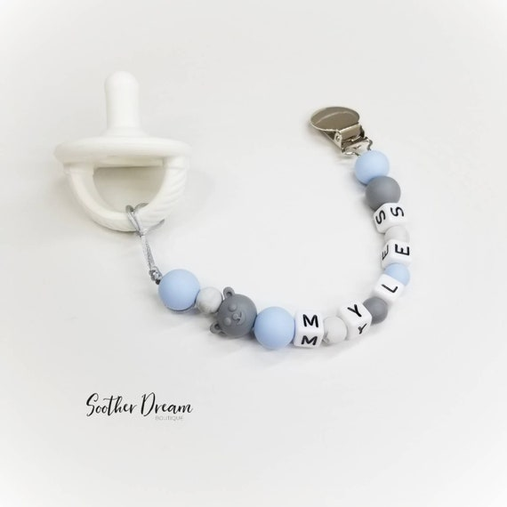 Personalised Baby Dummy silicones Clip Shower//Christening poison//Free MAM Adaptateur