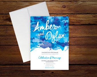 Printable Blue Watercolor Wedding Invitation, DIY Print Invitation with Blue Watercolor Design