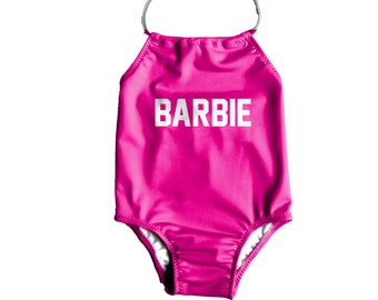 040b92e79f Girls One Piece Swimsuit ~ Toddlers Halter Bathing Suit ~ Toddler Girl  Swimsuit ~ Toddler Kids Barbie Swimsuit ~ Size 12M to 6T
