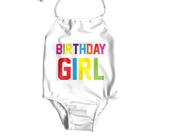 9d45413579e35 Girls One Piece Swimsuit ~ Birthday Girl Swimsuit ~ Toddler Birthday  Swimsuit ~ Rainbow Birthday Girl Bathing Suit ~ Birthday Swimsuit Girls