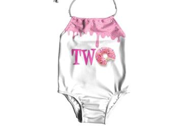 704fabeef5 Girls One Piece Swimsuit ~ Girls Birthday Swimsuit ~ Toddler Birthday  Swimsuit ~ Donut Bathing Suit ~ Birthday Swimsuit For Girls