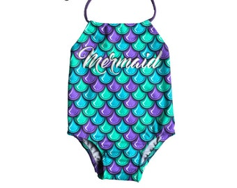 Girls One Piece Swimsuit ~ Toddlers Halter Bathing Suit ~ Toddler Girl Swimsuit ~ Mermaid Print Swimsuit ~ Size 12M to 6T