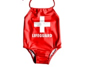 Girls One Piece Swimsuit Toddler Bathing Suit Lifeguard Swimsuit Baby Girl Swimsuit Baywatch Swimsuit Size 12M to 6T