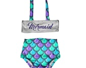 Girls Bikini Swimsuit Toddlers Two Piece Bathing Suit Toddler Girl High Waisted Swimsuit Mermaid Print Swimsuit Size 12M to 6T