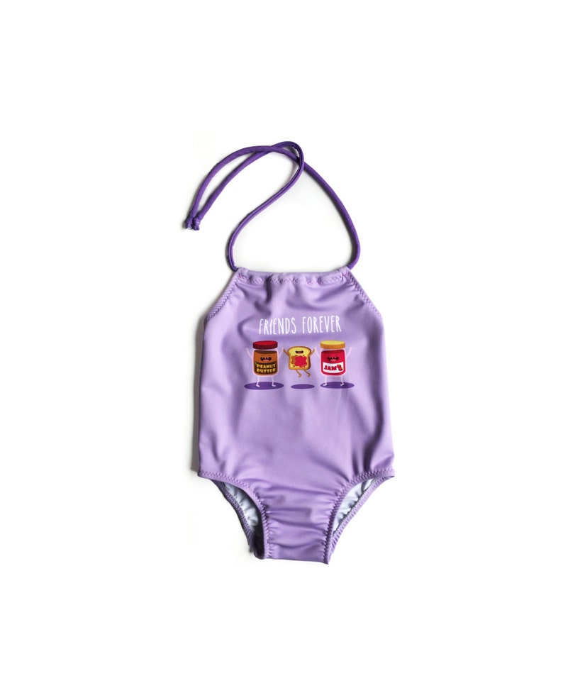 Girls One Piece Swimsuit ~ Toddlers Halter Bathing Suit ~ Toddler Girl Swimsuit ~ Levander Peanut Buter Jelly ~ Size 12M to 6T