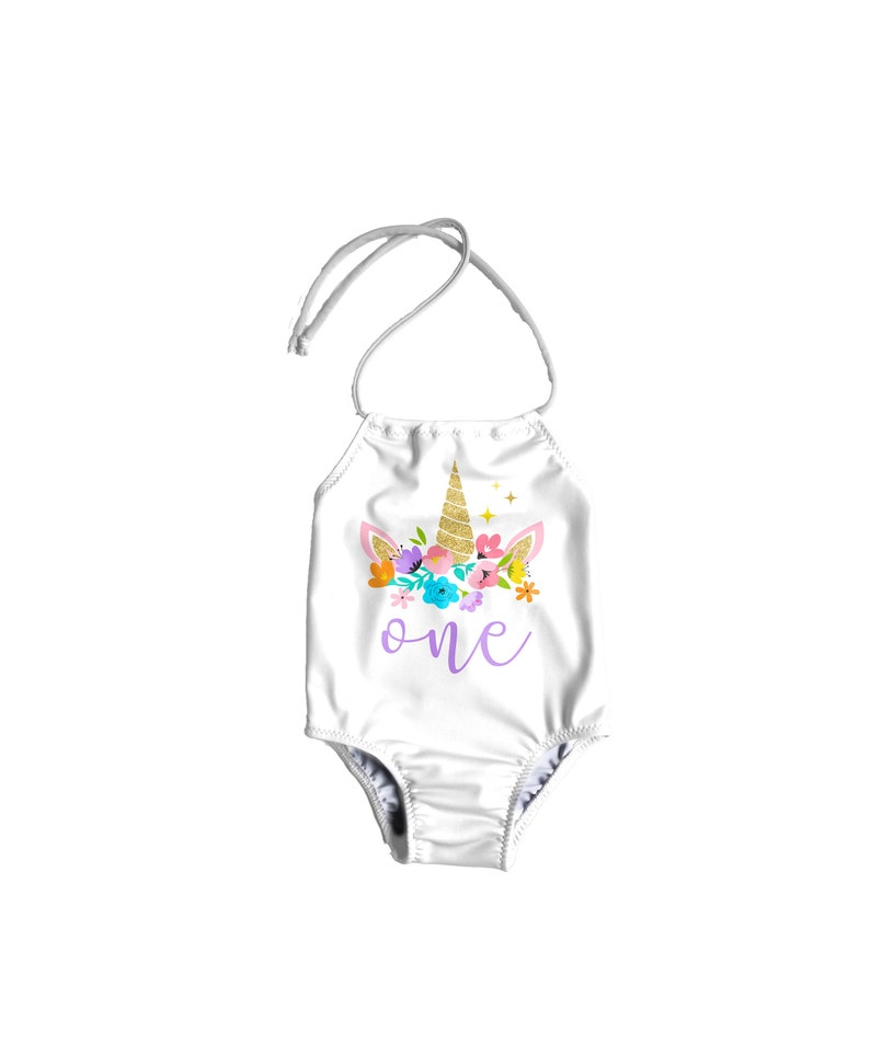 18a3290545530 Girls One Piece Swimsuit Toddler Bathing Suit Unicorn