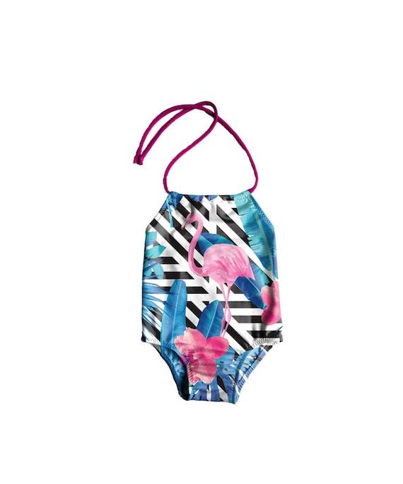 99236dd0de383c Girls One Piece Swimsuit Toddlers Halter Bathing Suit | Etsy