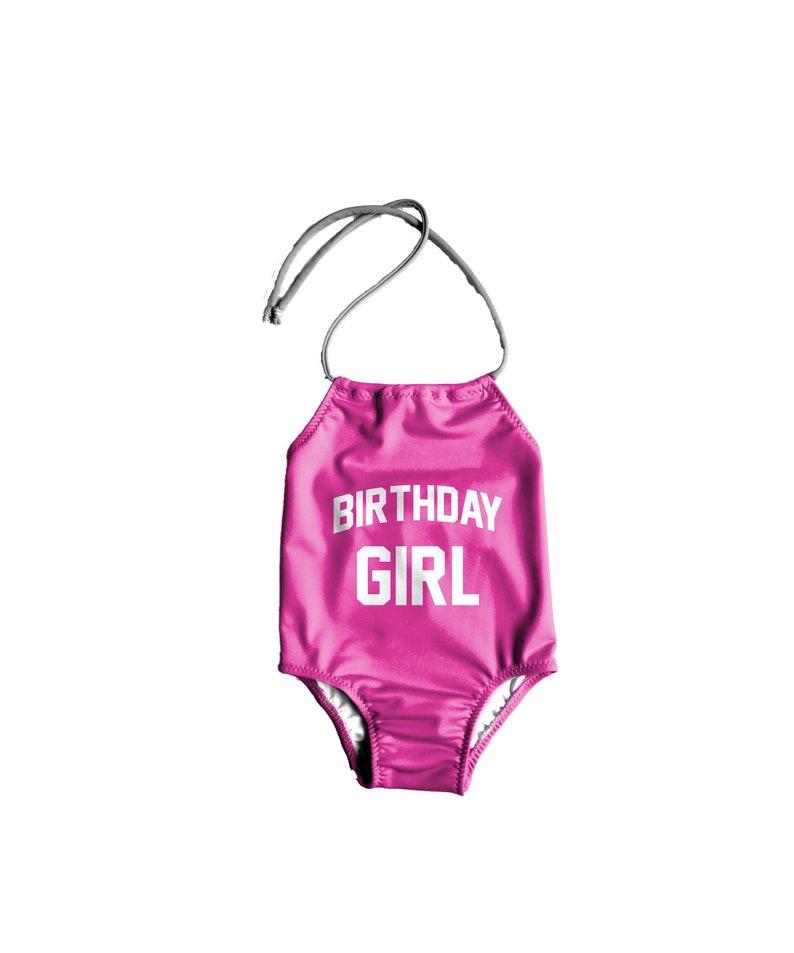 b2ded530dbf Girls One Piece Swimsuit Birthday Girl Swimsuit Toddler image ...
