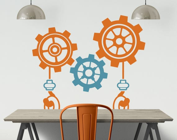 Gears and Construction Vinyl Wall Decal - Gear Boy Bedroom or Playroom  Decal - Robot Wall Decal - Construction Wall Decal