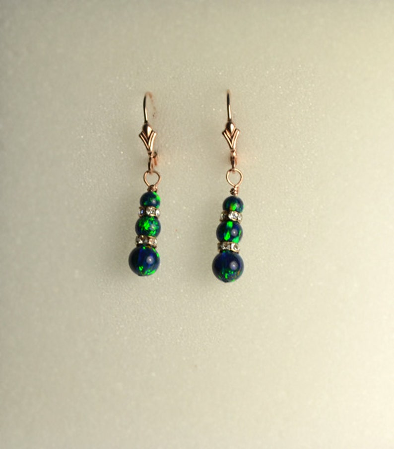 Long Blue Green Opal Drop Earrings Gold Opal stud post earrings Opal earrings Dangle thread ear chain earrings
