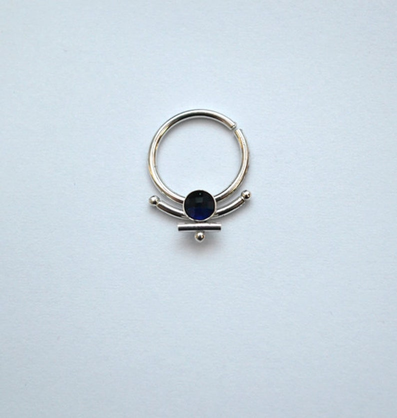 Silver Nipple Ring 3mm Sapphire Septum jewelry Forward Helix image 0