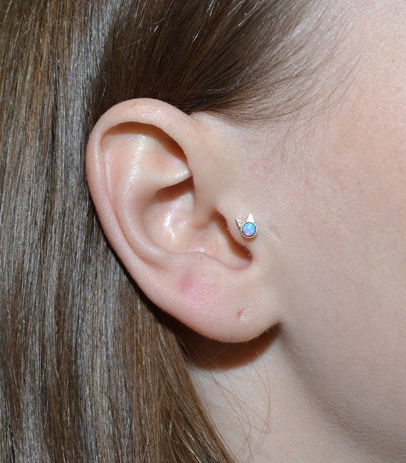 Opal tragus stud tragus piercing 16g cartilage earring for Helix piercing jewelry canada