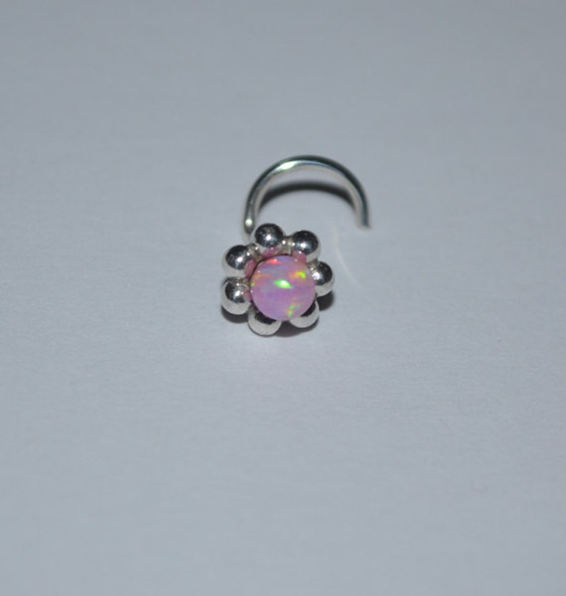 Small nose stud Nose piercing stud Silver nose ring Nose Jewelry Opal nose stud Nose piercing jewelry Nose screw