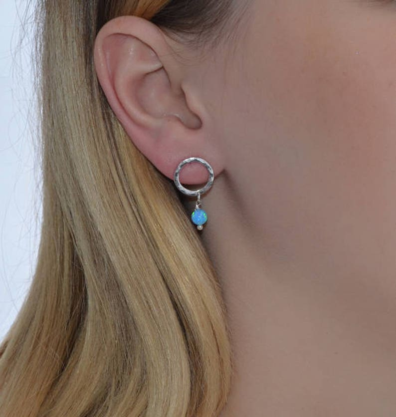Thread earrings Opal earrings Chain earrings Opal stud earrings Blue Opal Drop Earrings Long dangle earrings Silver
