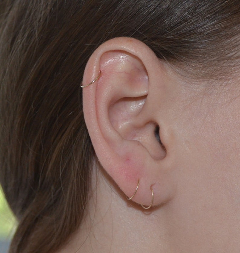 Cartilage earring Helix jewelry Rook earring Nose piercing 24g Daith earring Solid Gold Nose Ring Septum piercing Tragus earring