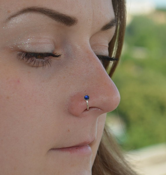 Nose Ring Nose Piercing Nose Hoop With Sapphire Nose Ring Etsy