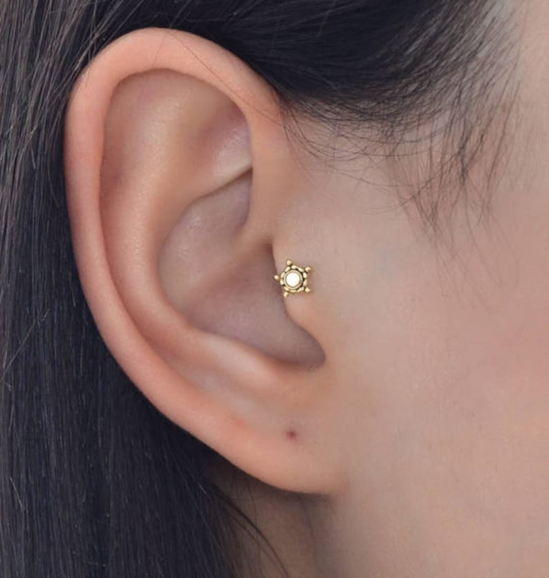 Gold Tragus Earring Tragus Piercing Cartilage Earring Stud Forward Helix Piercing Conch Jewelry Helix Jewelry Stud