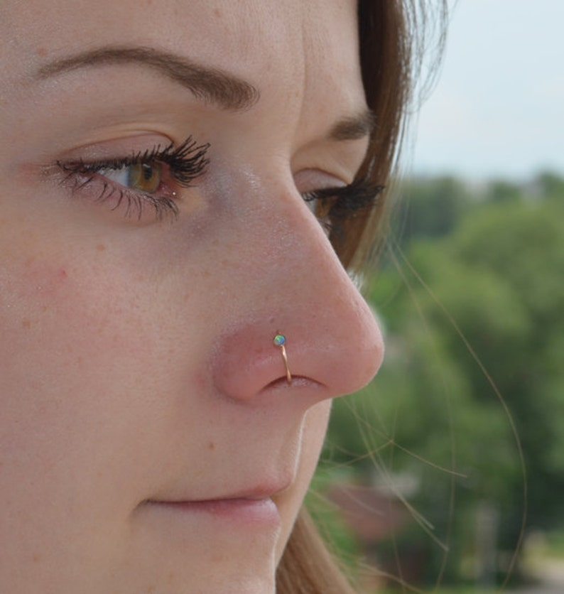 Nose Ring Jewelry Nose Hoop Nose Piercing 18 Gauge Opal Nose Hoop Small Nose Ring Nose Hoop Gold