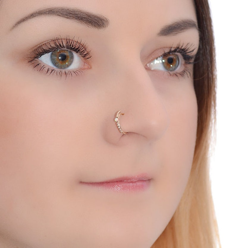 Gold Nose Ring 2mm Opal Nose Ring Nose Hoop Nose Piercing 18g Nose Jewelry Nose Hoop Gold