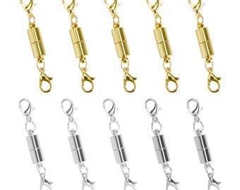 5Pcs Gold Silver Ball Tone Magnetic Lobster Clasps for Jewelry Necklace NP