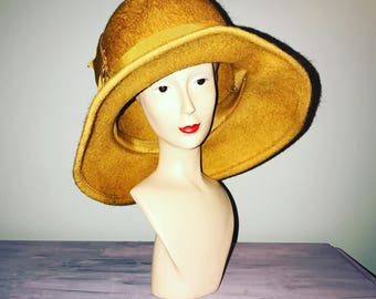 36b41a87a Vintage 70 s Mustard Yellow Wool Hat
