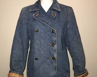 50c13975ebb Vintage 90 s Quilted Denim Jacket   size small   by Ralph Lauren