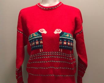 b8797ea872 Vintage 80 s Sheep in Sweaters Sweater   size small   by Orvis