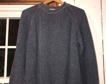 Vintage 90'S Blue Fisherman Sweater / size large / by LL Bean