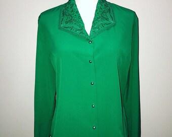 Vintage 80 ' s Blouse Secrétaire vert / taille 14 / par Yves St. Clair