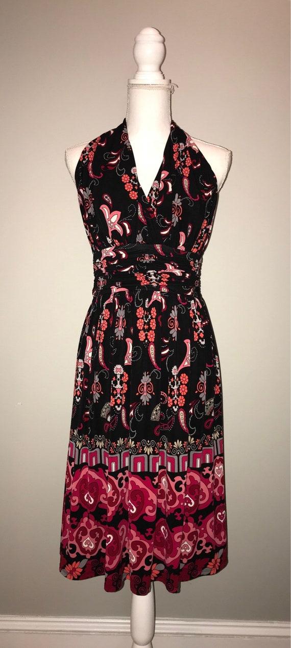 Vintage 90s Pink Black Halter Dress Size 6 By Etsy