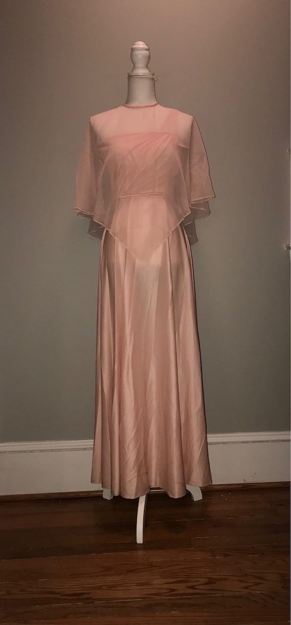 Vintage 1970s Caped Abstract Dress 70s Sheer Overlay Dress