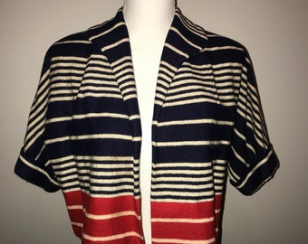 Vintage 60's Red, White, & Blue Cropped Spring Jacket / size small/medium / by Sacony
