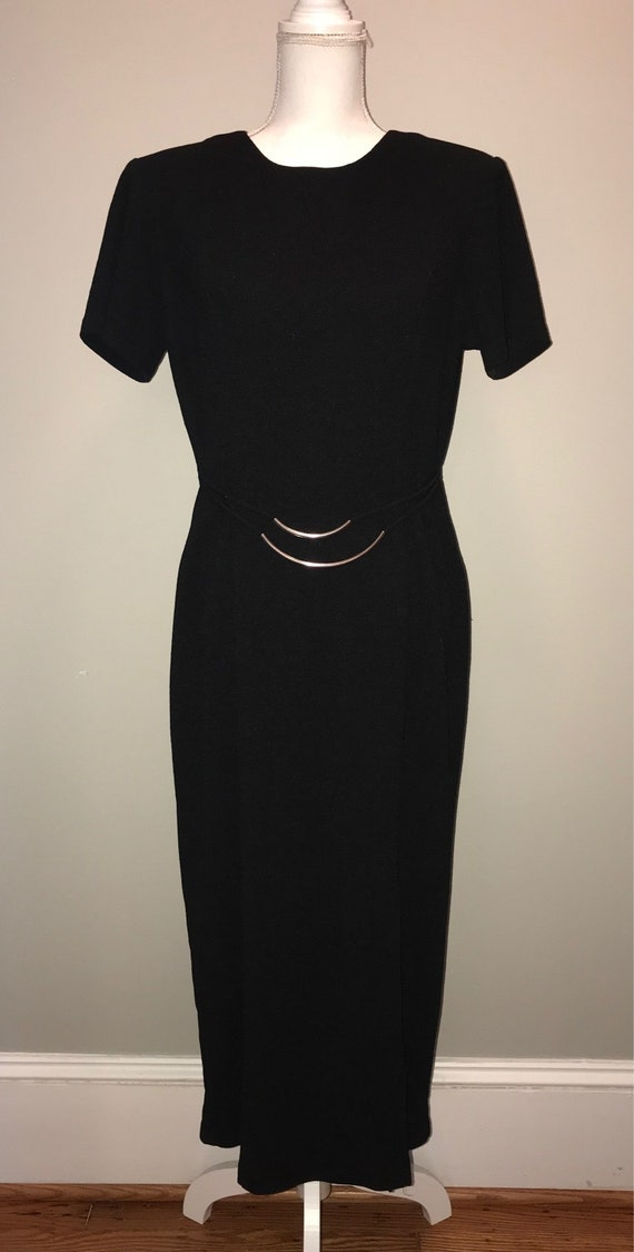 Vintage 80/'s Black Dress With Colorful Speckle Pattern By Just Us \\ Size 5 \\ See Measurements \\ Made In The USA
