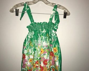 Vintage 70's Girls Floral Stretch Sundress / childs size 3 / 4