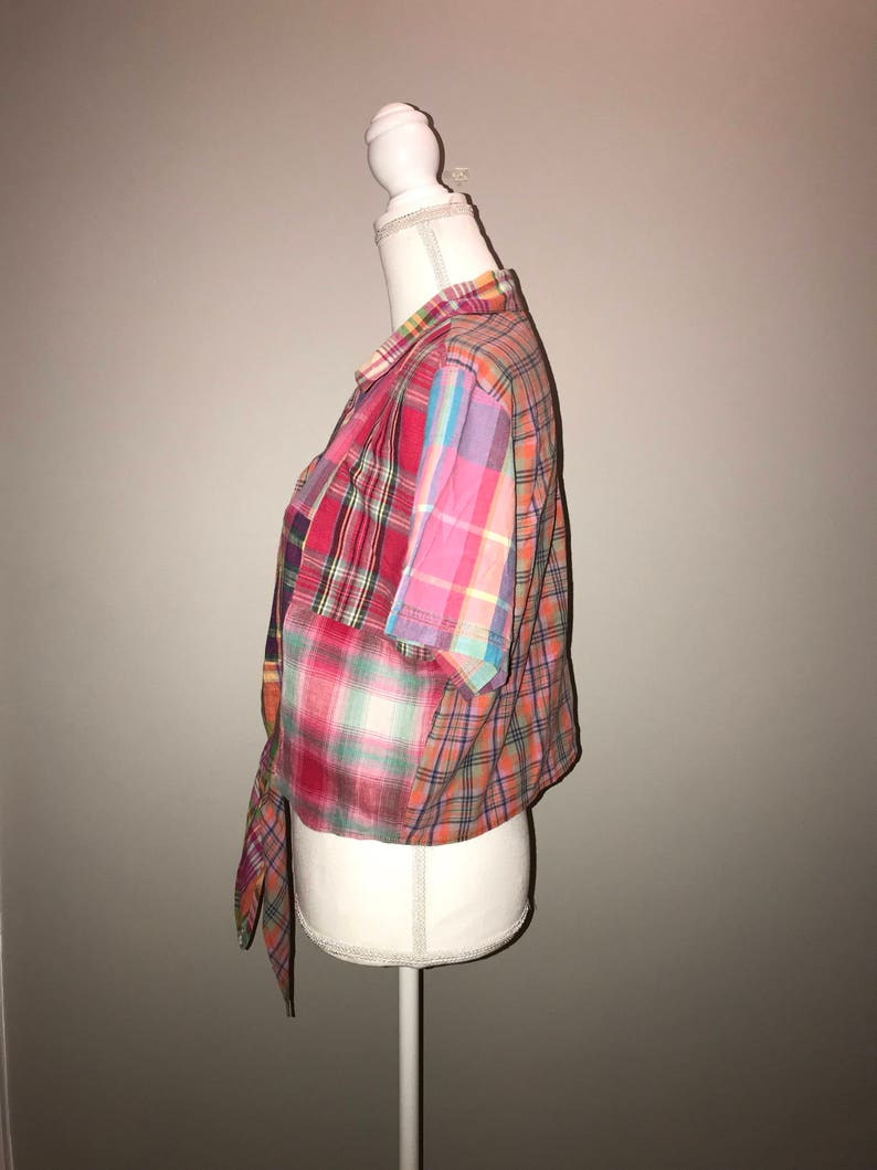 Vintage 90/'s Plaid Cropped Shirt  size 12  by Carole Little Sports