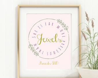She is Far More Precious Than Jewels Printable Wall Art JPG for women and girls